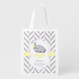 Baby Shower in Gray Chevron and Yellow Elephant Reusable Grocery Bag