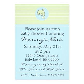 "Baby Shower Invitation. Blue Dolphin. 5"" x 7"" 5"" X 7"" Invitation Card"