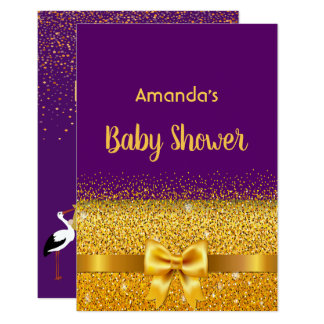 Baby Shower invitation card violet with golden bow