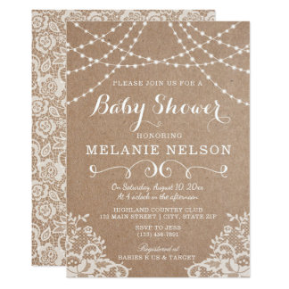 Baby Shower Invitation, Country Lace and Kraft Card