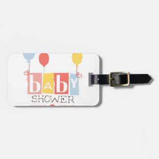 Baby Shower Invitation Design Template With Balloo Luggage Tag