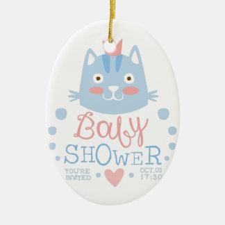 Baby Shower Invitation Design Template With Cat Ceramic Ornament