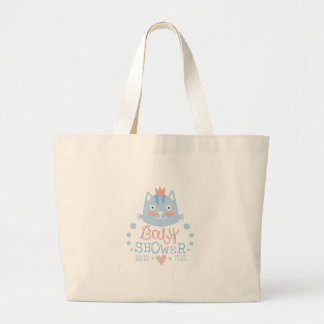 Baby Shower Invitation Design Template With Cat Large Tote Bag