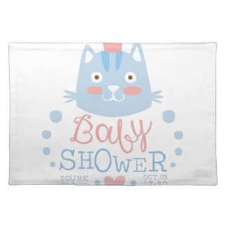Baby Shower Invitation Design Template With Cat Placemat