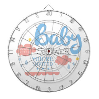 Baby Shower Invitation Design Template With Clouds Dartboard