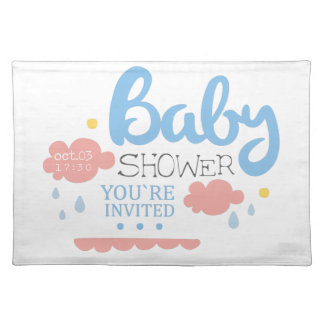 Baby Shower Invitation Design Template With Clouds Placemat