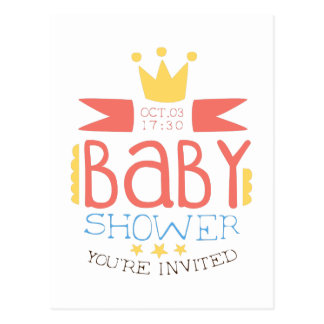 Baby Shower Invitation Design Template With Crown Postcard
