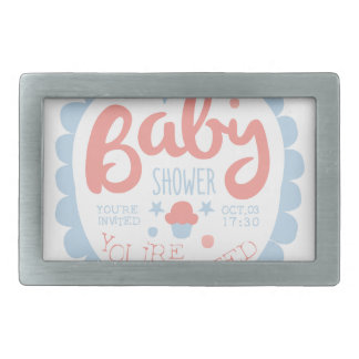 Baby Shower Invitation Design Template With Cupcak Belt Buckles
