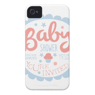 Baby Shower Invitation Design Template With Cupcak Case-Mate iPhone 4 Case