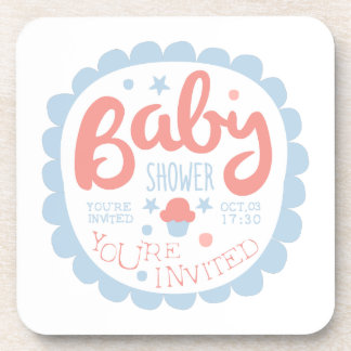 Baby Shower Invitation Design Template With Cupcak Coaster