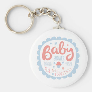 Baby Shower Invitation Design Template With Cupcak Keychain