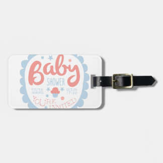 Baby Shower Invitation Design Template With Cupcak Luggage Tag