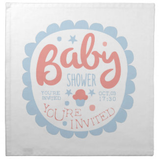 Baby Shower Invitation Design Template With Cupcak Napkin