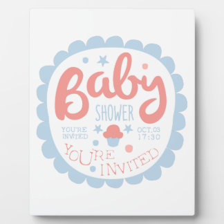 Baby Shower Invitation Design Template With Cupcak Plaque