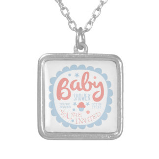 Baby Shower Invitation Design Template With Cupcak Silver Plated Necklace