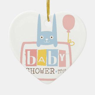 Baby Shower Invitation Design Template With Rabbit Ceramic Ornament