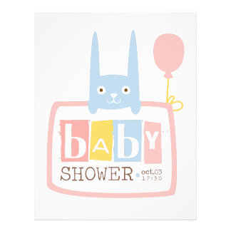 Baby Shower Invitation Design Template With Rabbit Letterhead