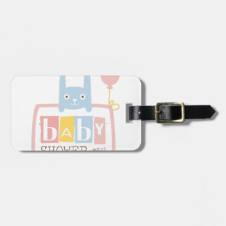 Baby Shower Invitation Design Template With Rabbit Luggage Tag