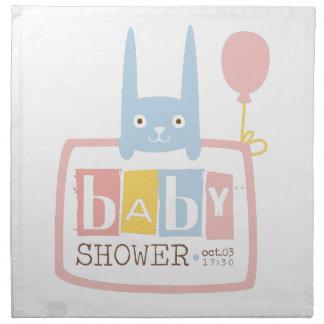 Baby Shower Invitation Design Template With Rabbit Napkin