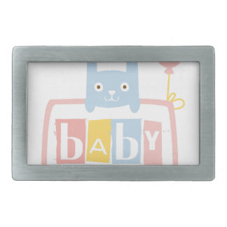 Baby Shower Invitation Design Template With Rabbit Rectangular Belt Buckle