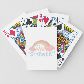 Baby Shower Invitation Design Template With Rainbo Bicycle Playing Cards