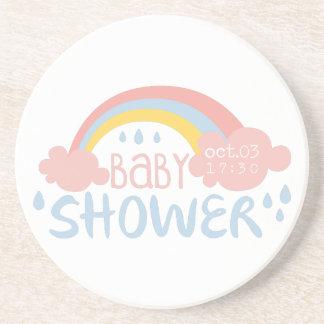 Baby Shower Invitation Design Template With Rainbo Coaster