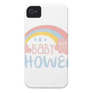 Baby Shower Invitation Design Template With Rainbo iPhone 4 Case