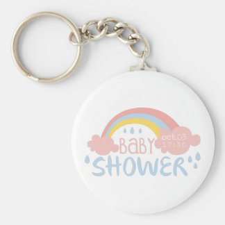 Baby Shower Invitation Design Template With Rainbo Keychain