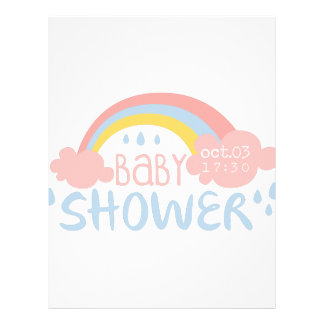 Baby Shower Invitation Design Template With Rainbo Letterhead