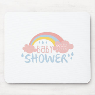 Baby Shower Invitation Design Template With Rainbo Mouse Pad