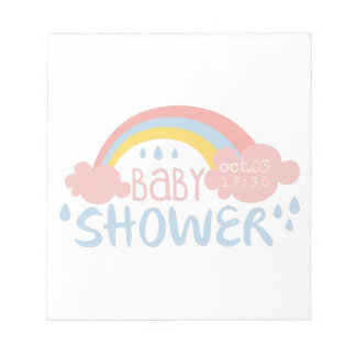 Baby Shower Invitation Design Template With Rainbo Notepad
