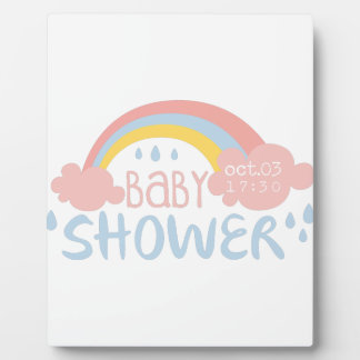 Baby Shower Invitation Design Template With Rainbo Plaque