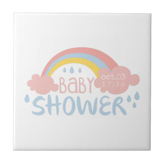 Baby Shower Invitation Design Template With Rainbo Tile