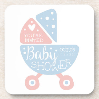 Baby Shower Invitation Design Template With Stroll Coaster