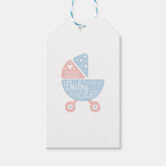 Baby Shower Invitation Design Template With Stroll Gift Tags