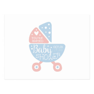 Baby Shower Invitation Design Template With Stroll Postcard