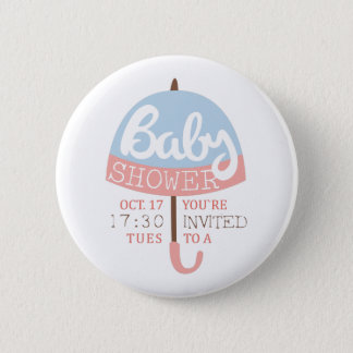 Baby Shower Invitation Design Template With Umbrel 2 Inch Round Button