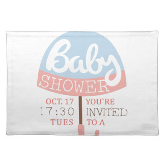 Baby Shower Invitation Design Template With Umbrel Placemat