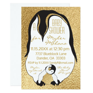 Baby Shower Invitation Gold Baby & Mommy Penguin