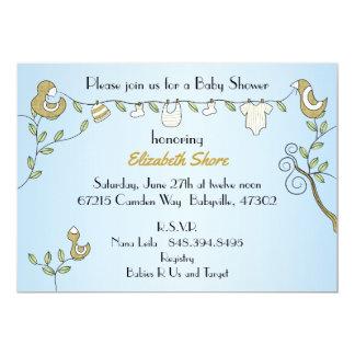 "Baby Shower Invitation ""Gold Birds"""