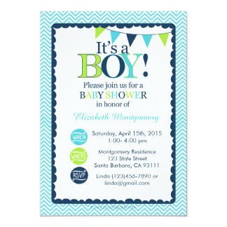 Baby Shower Invitation It's a Boy! Aqua, Green and