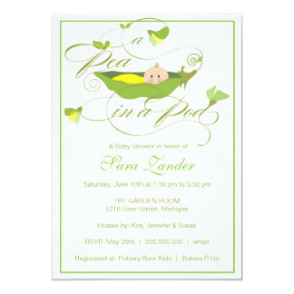 Baby Shower Invitation - Neutral Pea in a Pod