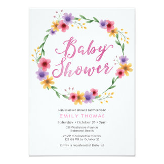 Baby Shower Invitation | pink watercolor florals