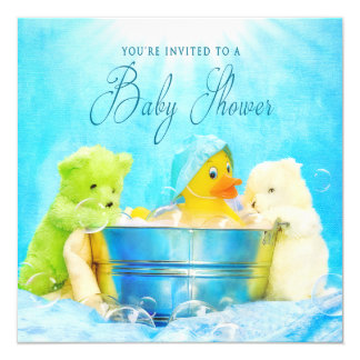 BABY SHOWER INVITATION - RUBBER DUCKY & FRIENDS