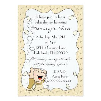 "Baby Shower Invitation. Stars/Baby/Gold/Black 5"" X 7"" Invitation Card"