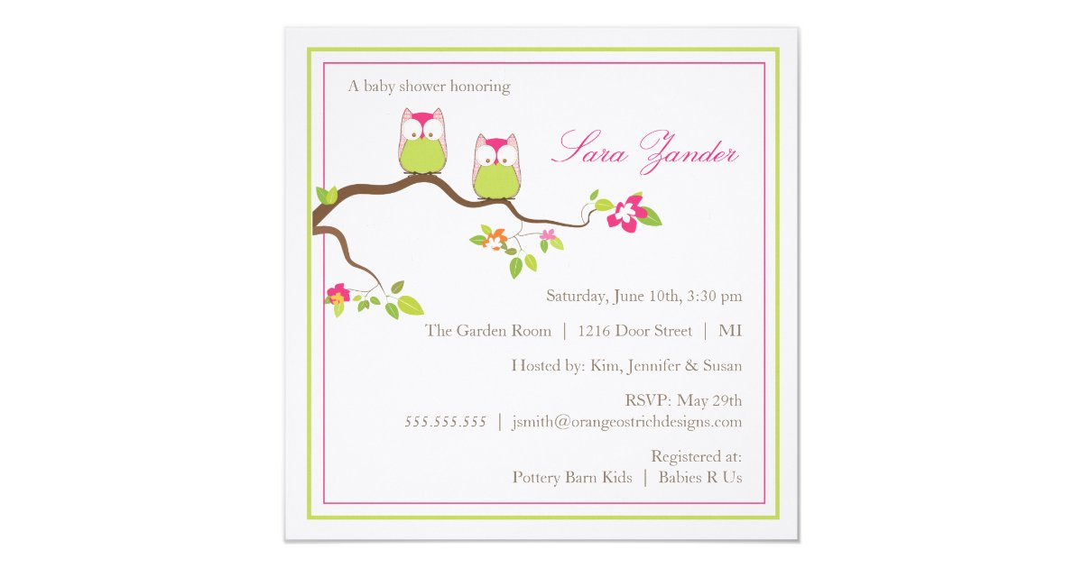 Baby Shower Invitation - Twin Girl Baby Owls   Zazzle.ca