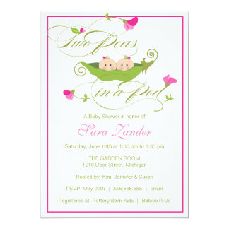 "Baby Shower Invitation - Twin Girls Pea in a Pod 5"" X 7"" Invitation Card"