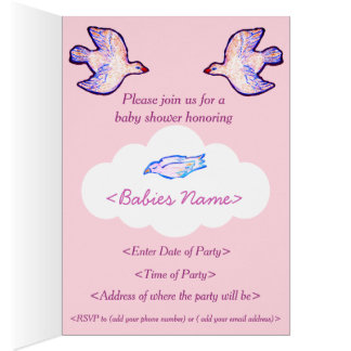 Baby Shower Invitation With Baby Bird On Cloud