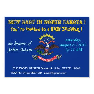 "Baby Shower Invitation with Flag of North Dakota 5"" X 7"" Invitation Card"