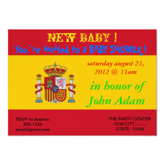 Baby Shower Invitation with Flag of Spain